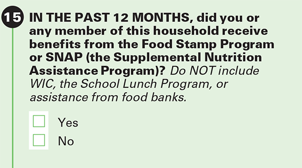 Why We Ask About    Food Stamps/Supplemental Nutrition