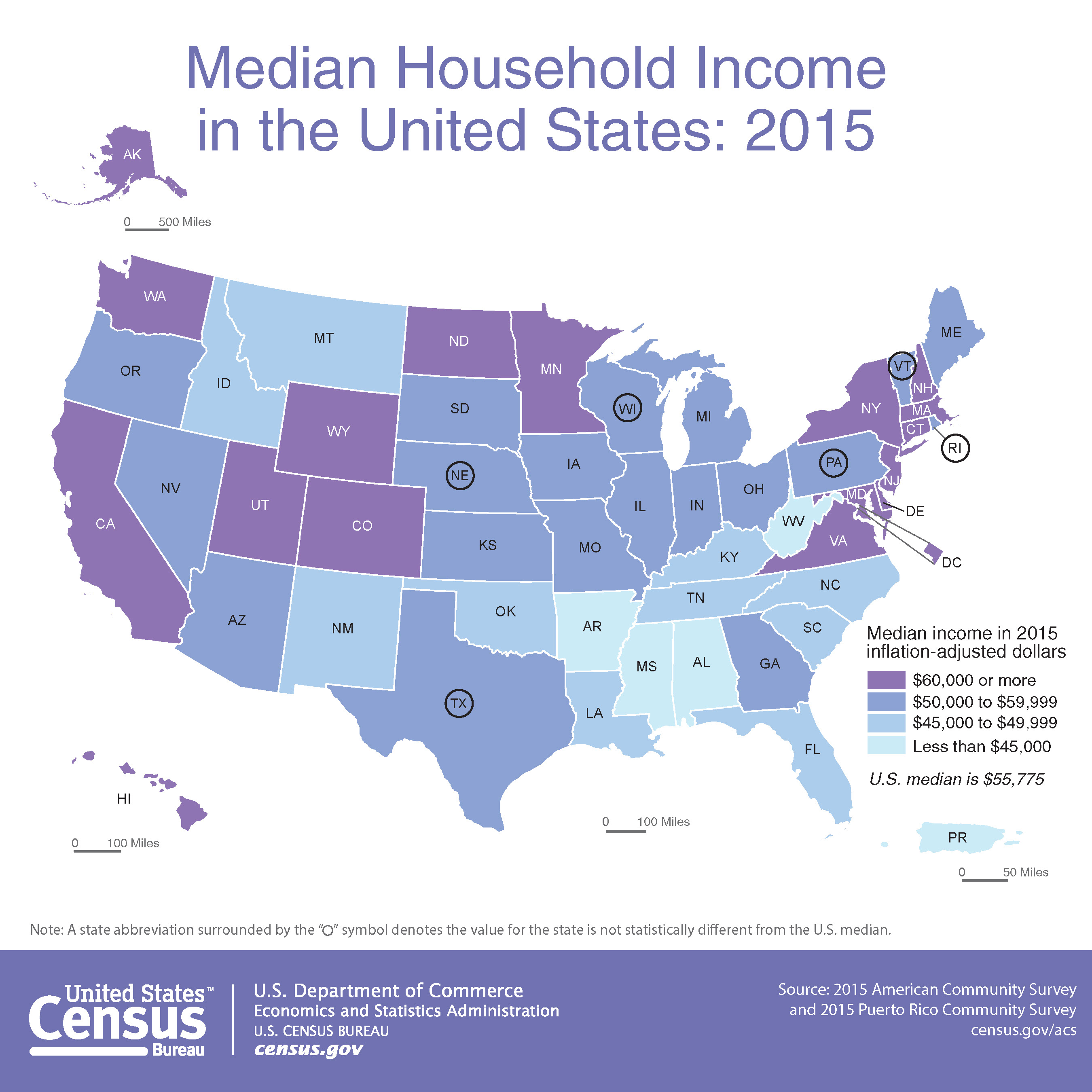Map Median Household Income In The United States - Map of us by state