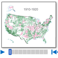 A thumbnail image icon for Population Change by Decade, 1910-2010