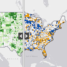 Before And After Change In Population Density - Changes in us employment international mapping