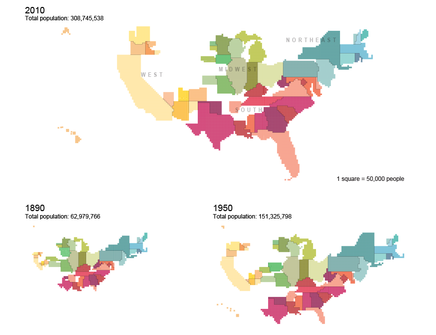 Cartograms Of State Populations In And - Us population distribution map by state