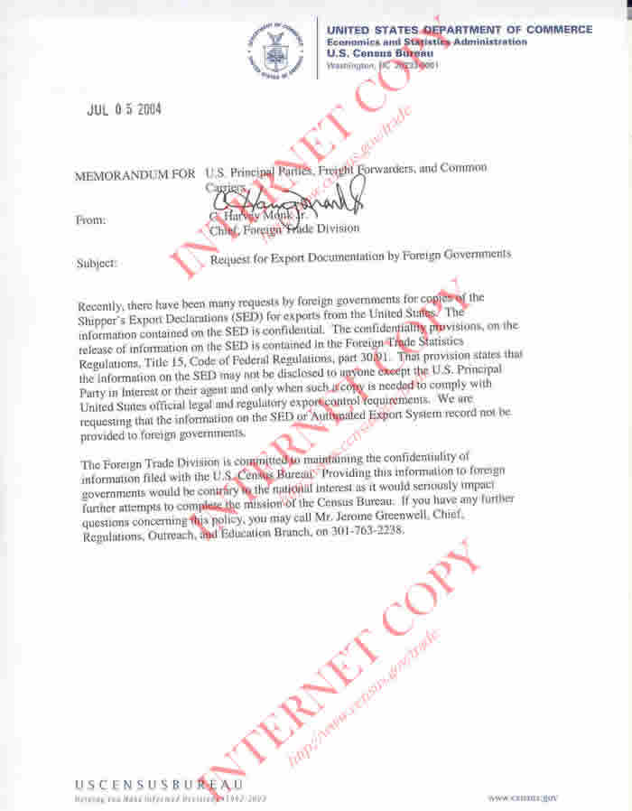 Foreign Trade Programs Letters and Notices Foreign Trade US – Letter of Notice