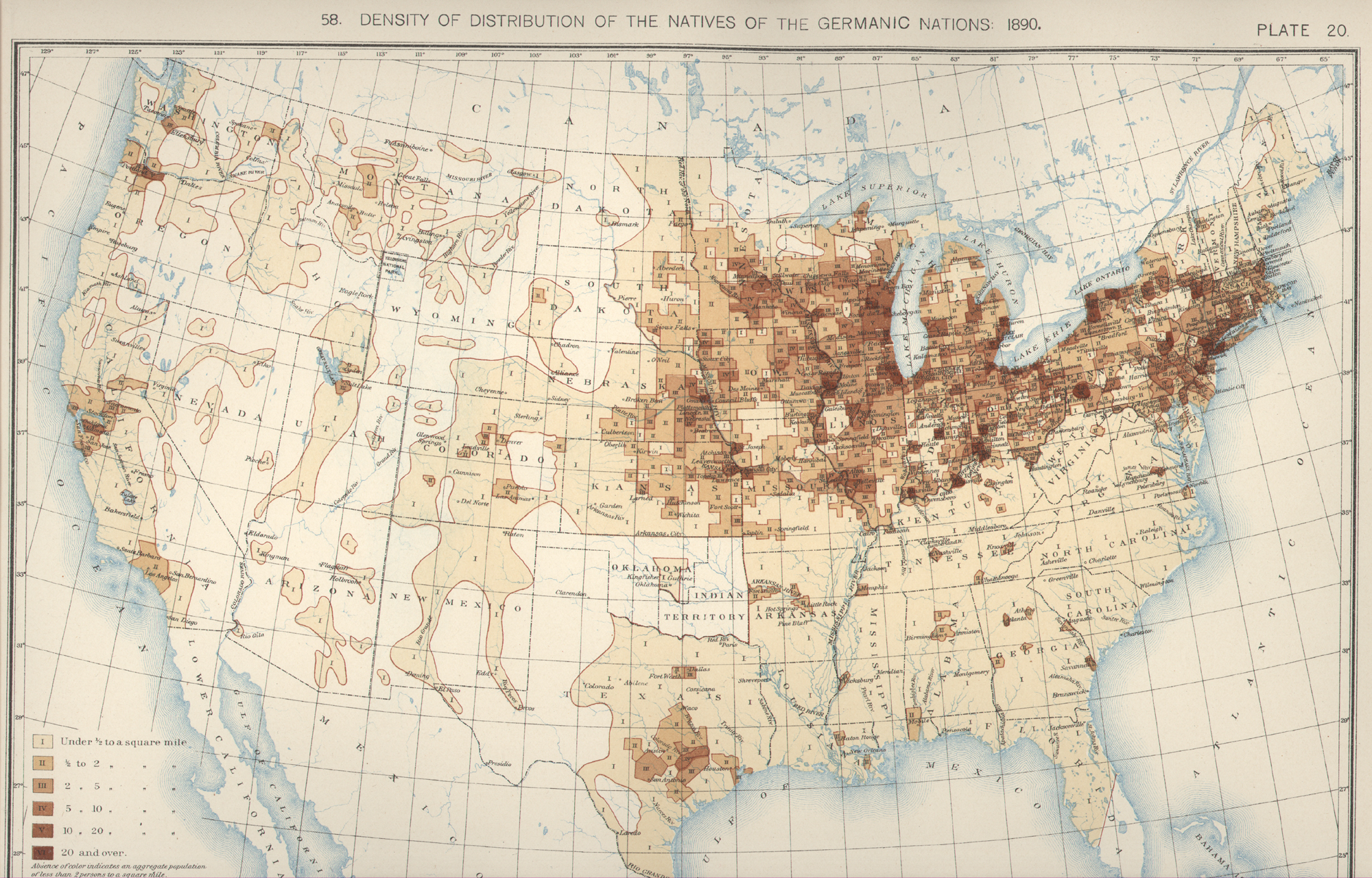 Population Distribution History Us Census Bureau Us Map 1890