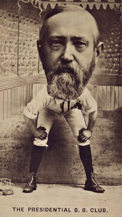 Benjamin Harrison depicted on a 19th Century baseball card
