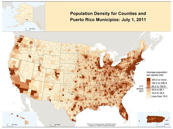 Maps History US Census Bureau - Map of us population density