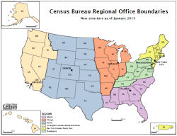 Map of restructured Census Bureau regional offices