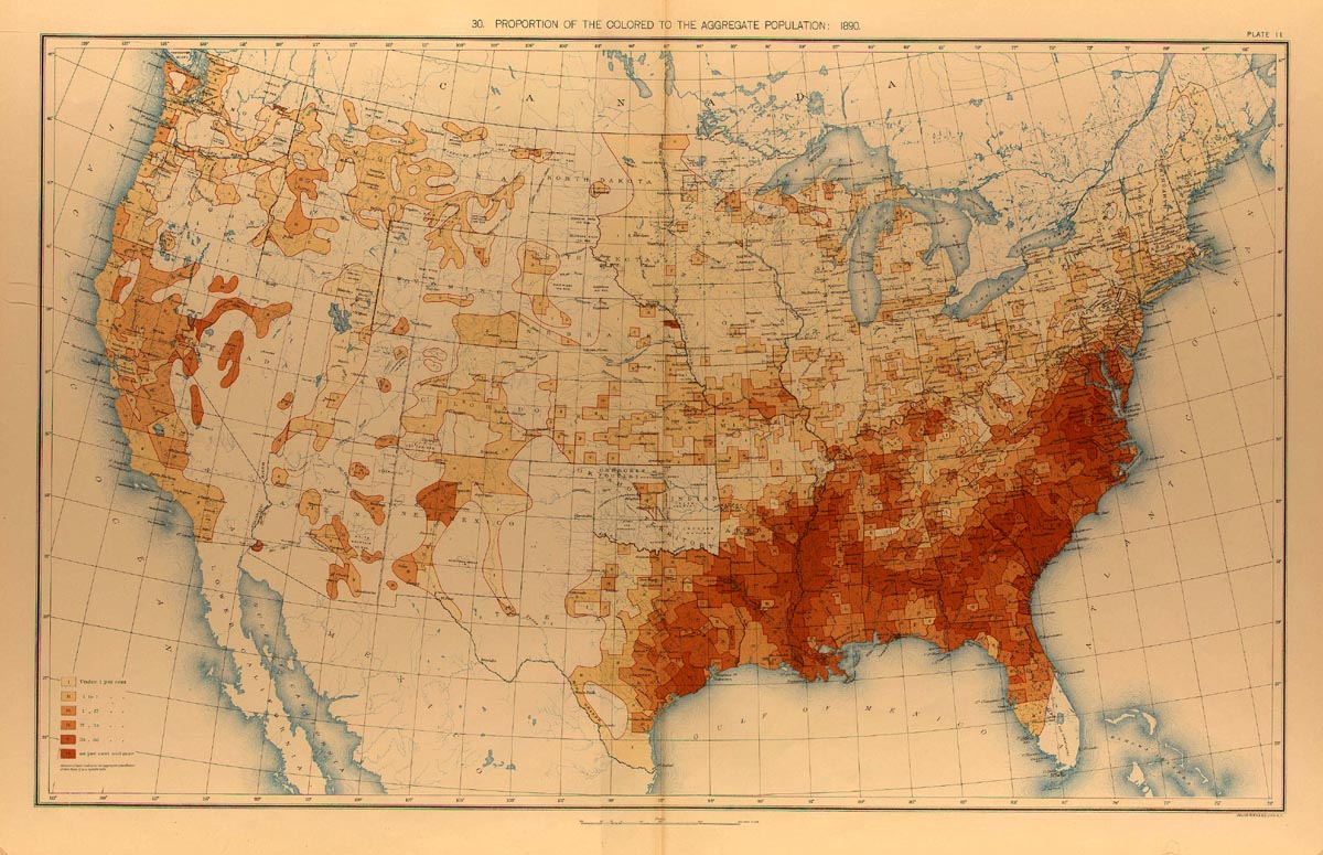 Population Distribution History US Census Bureau - Map from us to african