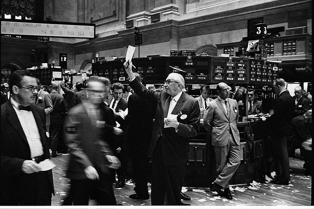 Brokers on the floor of the New York Stock Exchange