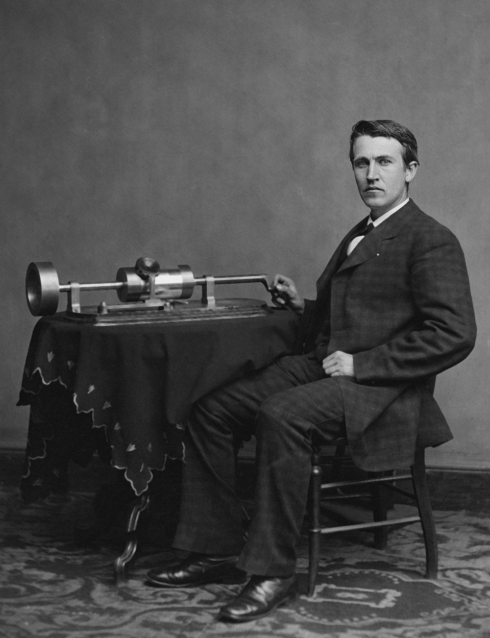 Thomas Edison with his Cylinder Phonograph