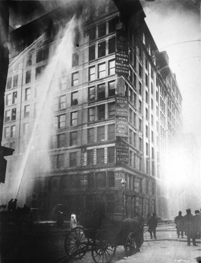 Firefighters battle the Triangle Shirtwaist Fire