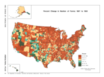 This Percent Change in Number of Farms: 1987 to 1992 visualization is from 1992.