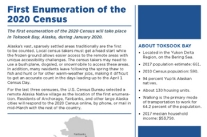 The first enumeration of the 2020 Census will take place in Toksook Bay, Alaska, during January 2020.