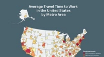 View the average time it takes to travel to work by metro area.