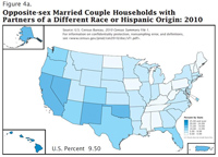 Map: Opposite-sex Married Couple Households with Partners of a Different Race or Hispanic Origin